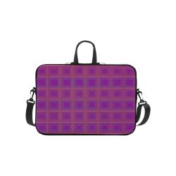 "Purple gold multicolored multiple squares Laptop Handbags 10"""