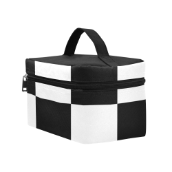 Black White Checkers Cosmetic Bag/Large (Model 1658)