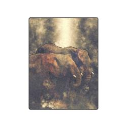 "Pair of African Elephants in Cosmic Mystery Shroud Blanket 50""x60"""
