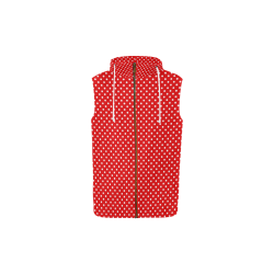 Red polka dots All Over Print Sleeveless Zip Up Hoodie for Kid (Model H16)