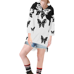 Animals Nature - Splashes Tattoos with Butterflies Step Hem Tunic Hoodie for Women (Model H25)