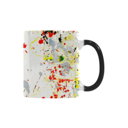 Black, Red, Yellow Paint Splatter Custom Morphing Mug (11oz)