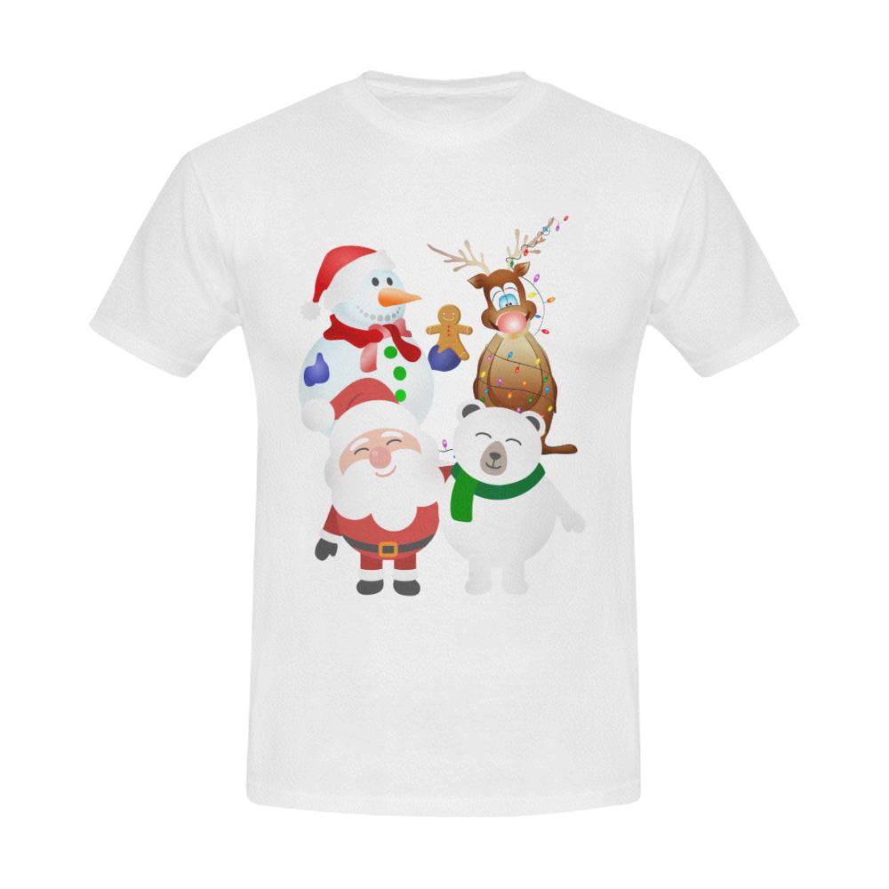 Christmas Gingerbread, Snowman, Santa Claus Men's Slim Fit T-shirt (Model T13)