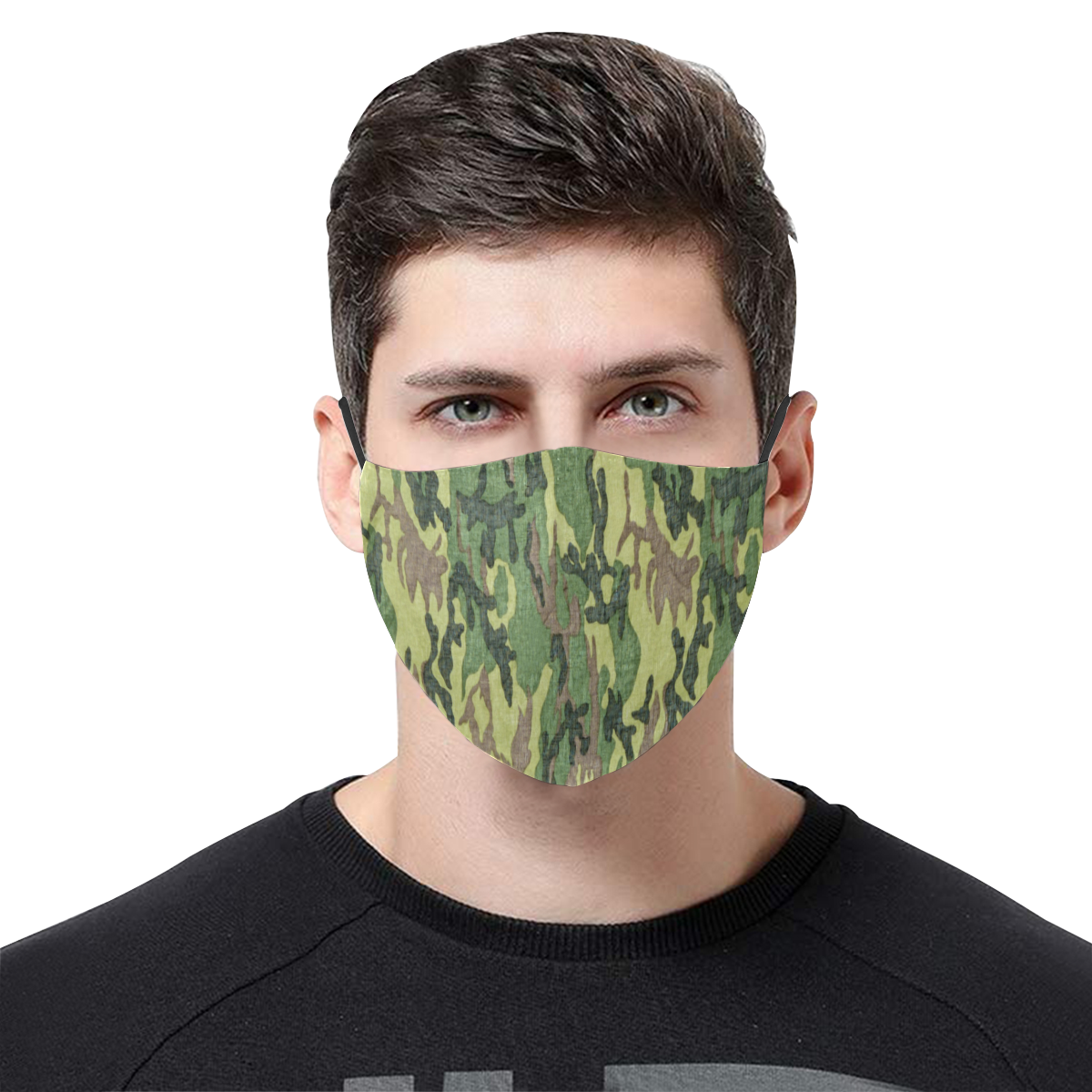 Military Camo Green Woodland Camouflage 3D Mouth Mask with Drawstring (Pack of 3) (Model M04)