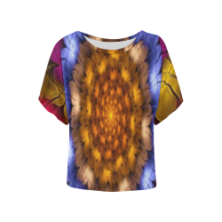 Fractal flash Women's Batwing-Sleeved Blouse T shirt (Model T44)