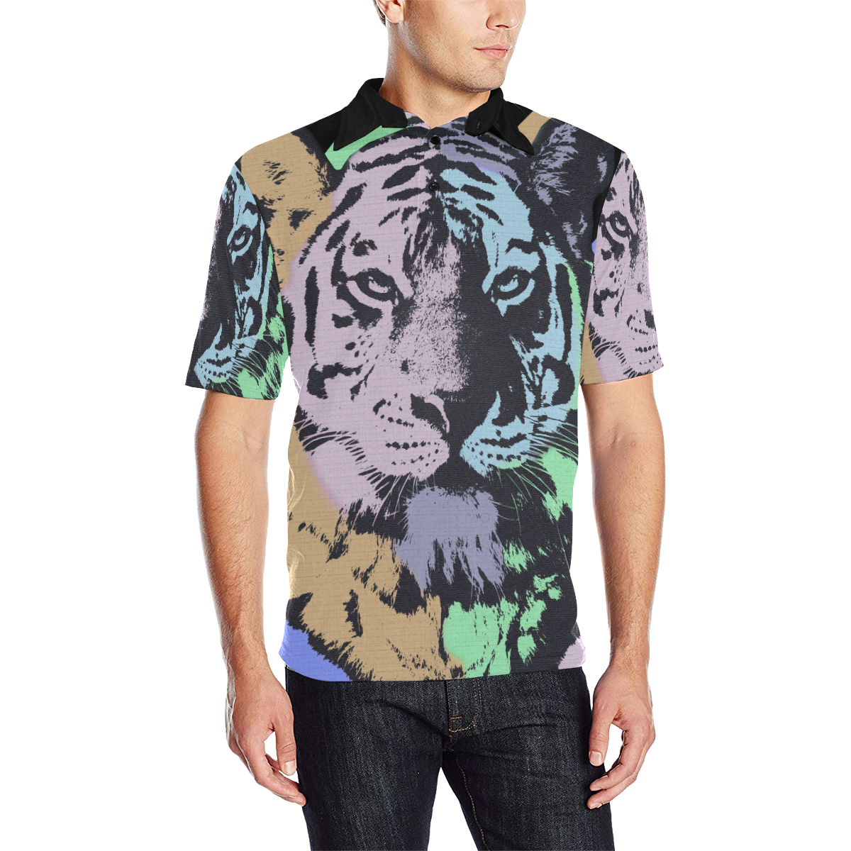 ART TIGER II LUXURY POLO Men's All Over Print Polo Shirt (Model T55)
