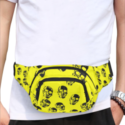 hot skulls, yellow by JamColors Fanny Pack/Small (Model 1677)