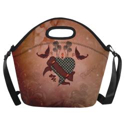 Heart with butterflies Neoprene Lunch Bag/Large (Model 1669)