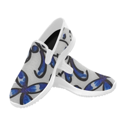Blue and Yellow Heart Orion Slip-on Women's Canvas Sneakers (Model 042)