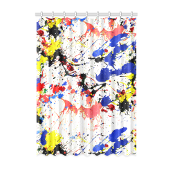"Blue and Red Paint Splatter Window Curtain 52"" x 72""(One Piece)"