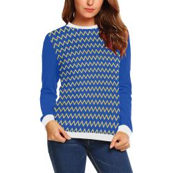 Chevron Jaune/Bleu All Over Print Crewneck Sweatshirt for Women (Model H18)