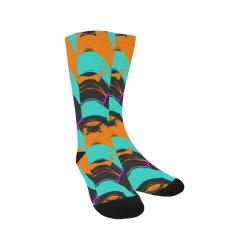 Blue orange black waves Trouser Socks