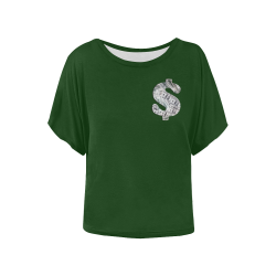 Hundred Dollar Bills - Money Sign Green Women's Batwing-Sleeved Blouse T shirt (Model T44)