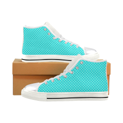 Baby blue polka dots Women's Classic High Top Canvas Shoes (Model 017)