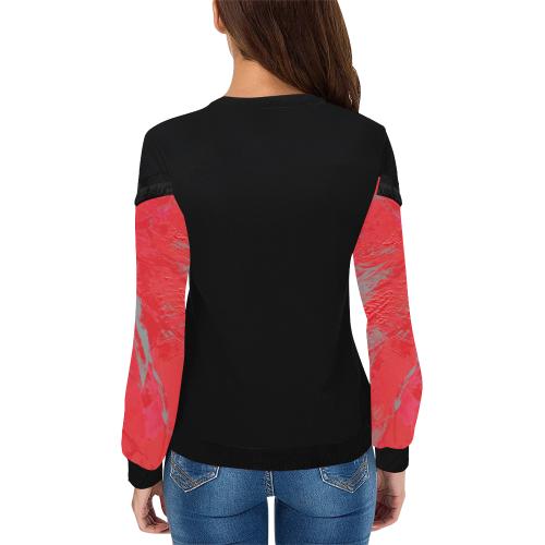 wheelVibe_8500 6 JUICY RED MAROON low Women's Fringe Detail Sweatshirt (Model H28)