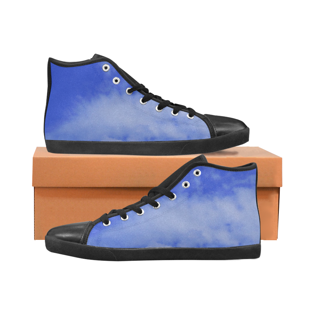Blue Clouds Black Men's High Top Canvas Shoes (Model 002)