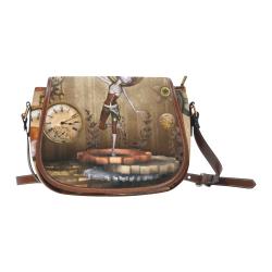 Steampunk girl, clocks and gears Saddle Bag/Small (Model 1649) Full Customization