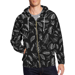 BLACK DANCING LEAVES All Over Print Full Zip Hoodie for Men (Model H14)