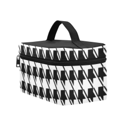 Black White Houndstooth Cosmetic Bag/Large (Model 1658)