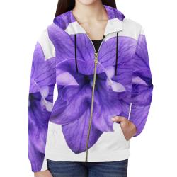 Balloon Flower All Over Print Full Zip Hoodie for Women (Model H14)