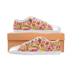 colorful flower pattern Canvas Shoes for Women/Large Size (Model 016)