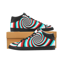 BJORLIE Spiral 3D Stereoscopic (Black/White/Red/Cyan) Men's Chukka Canvas Shoes (Model 003)
