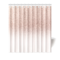 "Rose Gold Glitter Ombre Pink White Shower Curtain 66""x72"""