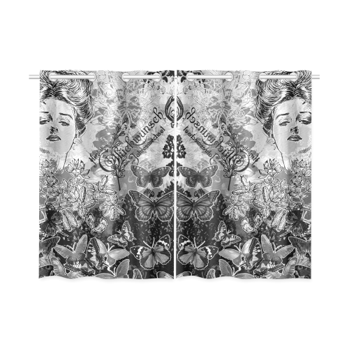 """Lady and butterflies Kitchen Curtain 26"""" X 39"""" (Two Piece)"""