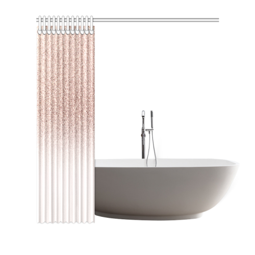 """Rose Gold Glitter Ombre Pink White Shower Curtain 66""""x72"""""""