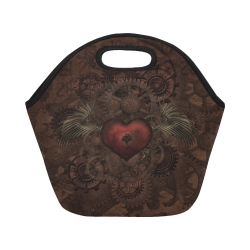 Awesome Steampunk Heart In Vintage Look Neoprene Lunch Bag/Small (Model 1669)