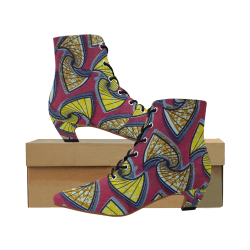 Higher Tings Pointed Toe Low Heel Booties - AFRICAN FABRIC 2 Women's Pointed Toe Low Heel Booties (Model 052)