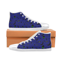 Alien Flying Saucers Stars Pattern On Blue Men's High Top Canvas Shoes (Model 002)