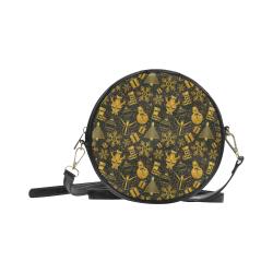 Golden Christmas Icons Round Sling Bag (Model 1647)