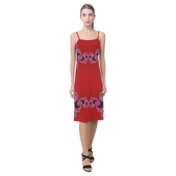 Red Pink Mauve Hearts and Lace Fractal Abstract 2 Alcestis Slip Dress (Model D05)