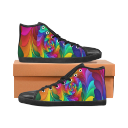 RAINBOW CANDY SWIRL Men's High Top Canvas Shoes (Model 002)