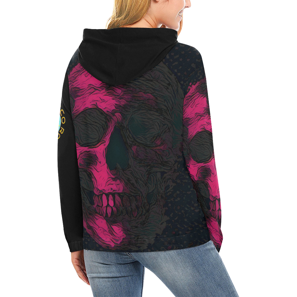 SKULL ART PINK CRASSCO All Over Print Hoodie for Women (USA Size) (Model H13)