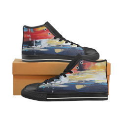 Men's Abstract Art High Tops Men's Classic High Top Canvas Shoes (Model 017)
