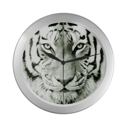 Eye of The Tiger. Silver Color Wall Clock