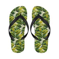 Yellow Green Wide Tropical Leaf pattern 6 Flip Flops for Men/Women (Model 040)