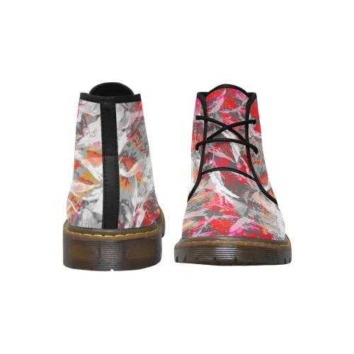 White Maroon Deep Crew Women's Nubuck Chukka Boots (Model 2402)
