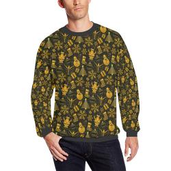 Golden Christmas Icons All Over Print Crewneck Sweatshirt for Men/Large (Model H18)