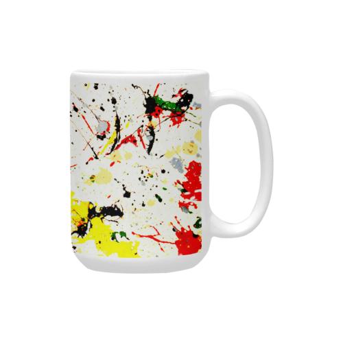 Yellow & Black Paint Splatter Custom Ceramic Mug (15OZ)
