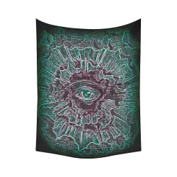 "Illuminati Third Eye Source Awakening Journey Blacklight Magick Cotton Linen Wall Tapestry 60""x 80"""