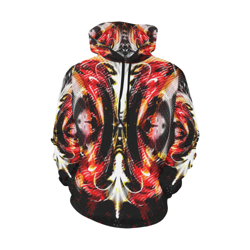 xxsml Red Rave Wild All Over Print Hoodie for Men (USA Size) (Model H13)