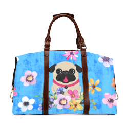 Fawn Pugs In Spring Flowers Classic Travel Bag Classic Travel Bag (Model 1643) Remake