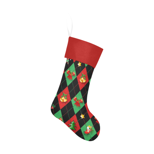 Christmas Argyle Pattern Black with Red Top Christmas Stocking