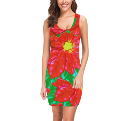 Red Orange Poinsettias Medea Vest Dress (Model D06)