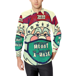 X Mask Christmas by Nico Bielow Men's All Over Print Casual Dress Shirt (Model T61)