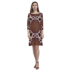 Copper and Pink Hearts Lace Fractal Abstract Rhea Loose Round Neck Dress(Model D22)