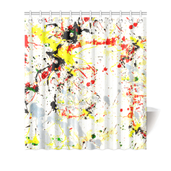 "Black, Red, Yellow Paint Splatter Shower Curtain 66""x72"""